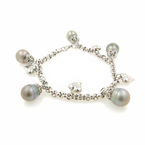 Estate Ladies 14K White Gold Baroque Tahitian Pearl Statement Bracelet - 8 inch