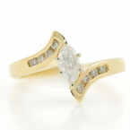 Estate Ladies 14K Yellow Gold Elegant Diamond Bypass Engagement Ring - 0.70CTW