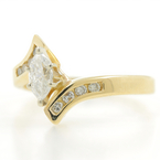 Estate Ladies 14K Yellow Gold Diamond 0.70CTW Bypass Engagement Ring