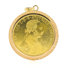 Vintage Estate 1915 Austria Gold 4 Ducat Coin 14K Yellow Gold Bezel 60MM Pendant