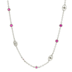 Estate Ladies 14K White Gold Diamond Red Spinel .85CTW 16 Inch Necklace
