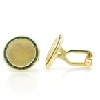 Men's Vintage Classic Estate 14K Yellow Gold Green Tourmaline Gemstone Cufflinks