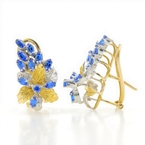 Vintage Estate Ladies 14K Yellow White Gold Blue Spinel Floral Omega Back Earrings