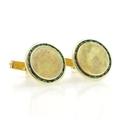 Men's Vintage Classic Estate 14K Yellow Gold Green Tourmaline Gemstone Cufflinks