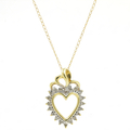 "Estate 14K Yellow Gold Diamond Heart Pendant 16"" 10K Yellow Gold Chain Necklace"