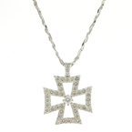 "Estate 14K White Gold Diamond 1.15CTW Cross Pendant 18"" Fancy Rope Chain"