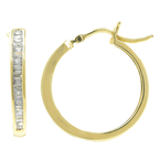 Classic Estate 10K Yellow Gold Diamond 0.65CTW Hoop 25MM Saddle Back Earrings