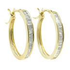 Estate 10K Yellow Gold Diamond Huggie Hoop Saddle Back Earrings - 25MM - 0.65CTW