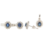 Charming Estate Ladies 14K White Gold Diamond & Topaz Ring Earrings Pendant Set