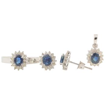 Charming Estate Ladies 14K White Gold Diamond & Topaz Ring Earrings Pendant Set