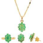 Retro Estate 14K Yellow Gold Oval Cut Emerald Cluster Pendant Ring Earrings Jewelry Set