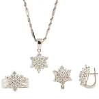 "Estate 14K White Gold Diamond 5.40CTW Rosita Pendant 18"" Chain Ring Earrings Set"