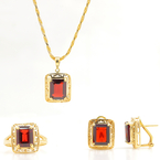 Vintage Estate 14K Yellow Gold Garnet 9.32CTW Ornate Pendant Ring Earrings Set