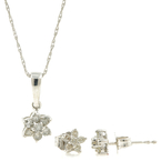 Classic 14K White Gold Diamond Rosita Necklace Pendant Earrings Set - 0.50CTW