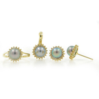 Estate 14K Yellow Gold Pearl Diamond Halo Fancy Ladies Ring Earrings Pendant Set