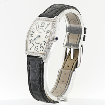 100% Authentic Franck Muller Curvex 18K White Gold Ladies Diamond Watch 1752
