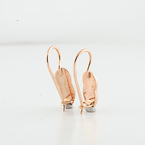 Russian Rose Gold 585 14K Leaf Engraved Everyday Hook Lock Earrings Ladies Gift