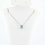 Bold Blue Zircon Modern Charm Pendand Necklace In 14K White Gold Ladies Jewelry