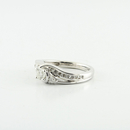 Real Solid 14K White Gold Three Stone Round Brilliant Engagement Ring Buy Now !