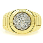 Vintage Estate 18K Yellow Gold Diamond 1.05CTW Watch Style Men's Ring Size 10.5