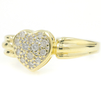 Estate Ladies 14K Yellow Gold Diamond Charming Heart-Shaped Promise Ring