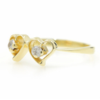 Estate Ladies 14K Yellow Gold Ziconia Double Heart Right Hand Ring