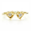 Ladies Classic Estate Charming 14K Yellow Gold Zirconia Double Heart Ring