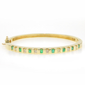 Retro Vintage 14K White Gold Diamond Emerald 1.05CTW 7 Inch Bangle