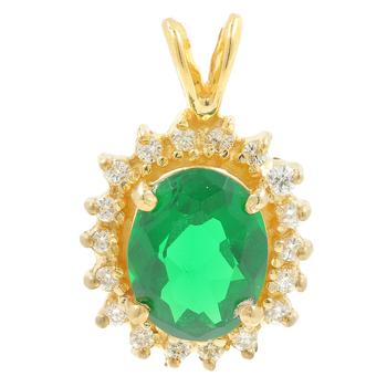 Ladies Classic Estate 10K Yellow Gold Green Tourmaline Gemstone Halo Pendant