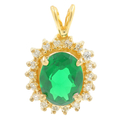 Classic Estate Ladies 10K Yellow Gold Fancy Oval Green Tourmaline Halo Pendant