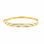 "Vintage Estate 14K Yellow Gold Diamond 2.16CTW Statement 7"" Bangle"