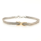 Estate Ladies Silver 925 14K Yellow Gold Accent Fox Tail Bracelet - 7 1/2 inch