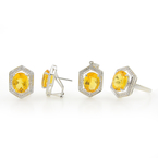Vintage Estate 14K White Gold Diamond Citrine Ring Earring Pendant Set 10.25CTW
