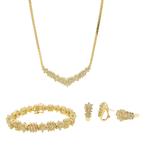 Exquisite Estate Ladies 14K Yellow Gold Diamond 4PC Jewelry Set - 11.50CTW
