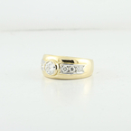 Large Half Carat Diamond Center Stone Cocktail 22K Fine Solid Yellow Gold Ring