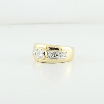 Large Half Carat Diamond Center Stone Cocktail 22K Fine Solid Yellow Gold Ring