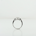 Modern 18K White Gold Engagement Emerald Cut Invisible Set  Diamond Frame Ring