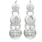 Ladies Estate Sterling Silver 925 Ornate Drop High Polished Fish Hook Earrings