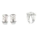 Elegant 14K White Gold Women's Diamond Ring & Earrings Set - Brand New