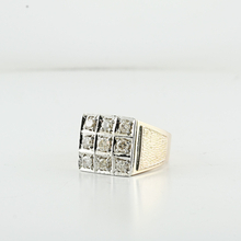 Men's Anniversary Square Top 1.17 Carat Diamond 14K Yellow Gold Pinky Ring