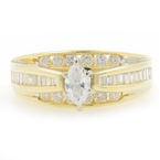 Estate Ladies 14K Yellow Gold Marquise Diamond 0.95CTW Engagement Ring