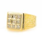 Stunning Mens Vintage Estate 14K Yellow Gold Diamond 0.12CTW Ring - Size 6.75