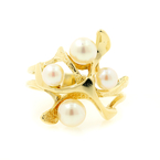 Beautiful Vintage Classic Estate 14k Yellow Gold Ladies Pearl Cocktail Ring