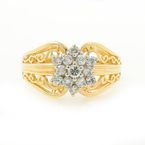 Vintage Estate 14K Yellow Gold Diamond 0.40CTW Ornate Exquisite Ladies Ring