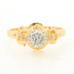Vintage Estate 18K Yellow Gold European Cut Natural Diamond Engagement Ring