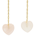 Vintage Estate 14K Yellow Gold Ladies Drop Pink Jade Heart Fish Hook Earrings