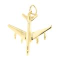 Vintage Estate 14K Yellow Gold High Polished 35MM 3D Airplane Charm Pendant