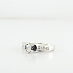 Brilliant Marquise Diamond & Sapphire Accent Engagement White Gold Wedding Ring