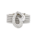 Exquisite Modern 18K White Gold Heart Shaped Ladies Sparkling Diamond Ring - New