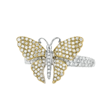 Exquisite Modern 14K White & Yellow Gold Butterfly Shaped Diamond Lady's Ring